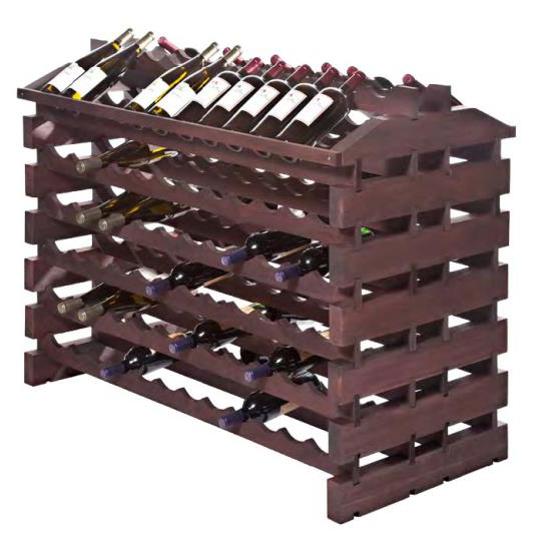144 Bottle Wooden Modular Island Wine Rack - Stained