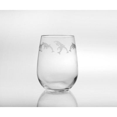 School of Dolphins Stemless Wine Glasses (set of 4)