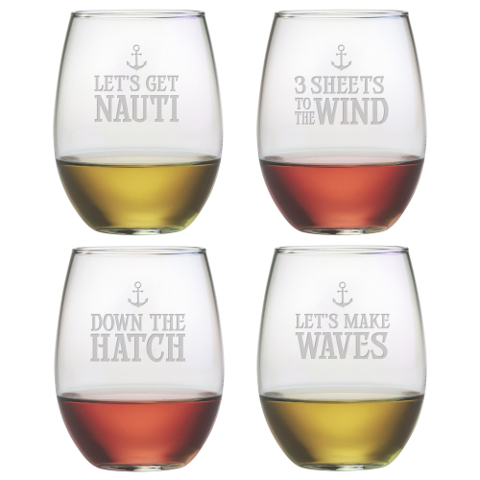 Down The Hatch Stemless Wine Glasses (set of 4)