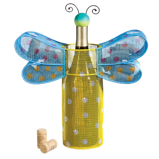 Polka Dot Dragonfly Metal Wine Bottle and Cork Holder