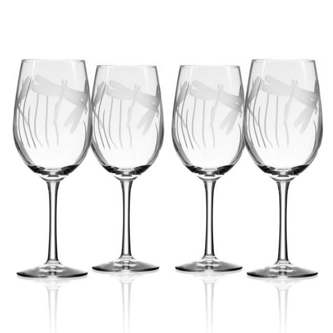 Dragonfly White Wine Glasses 12 oz Set of 4