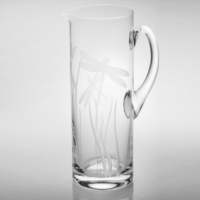 Dragonfly Etched Glass Pitcher