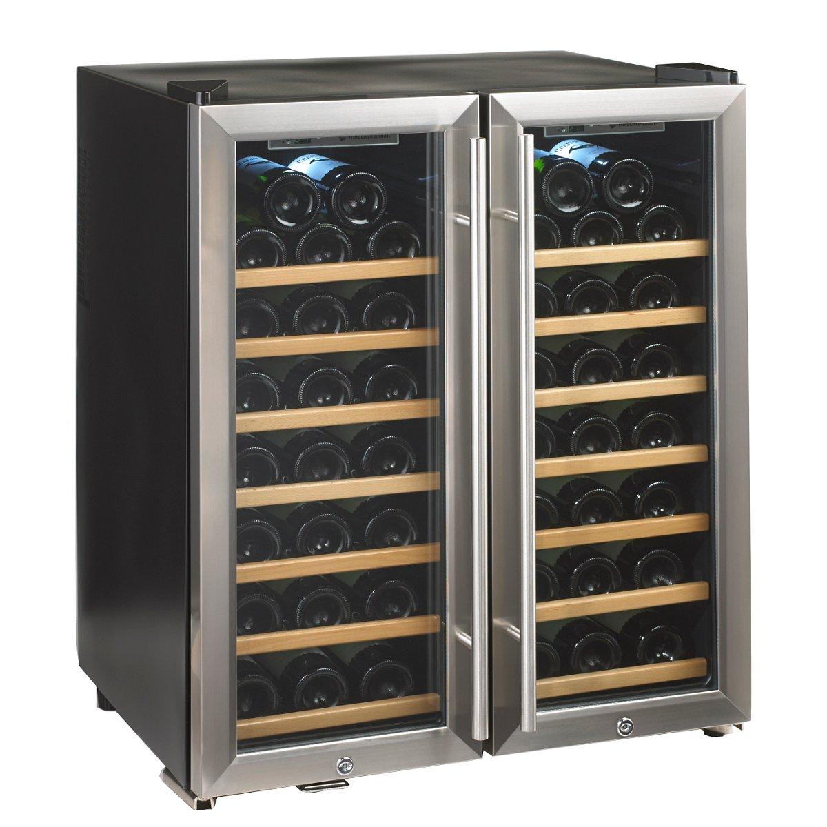 Silent 48 Bottle Dual Zone Wine Refrigerator Stainless Steel Trim Door
