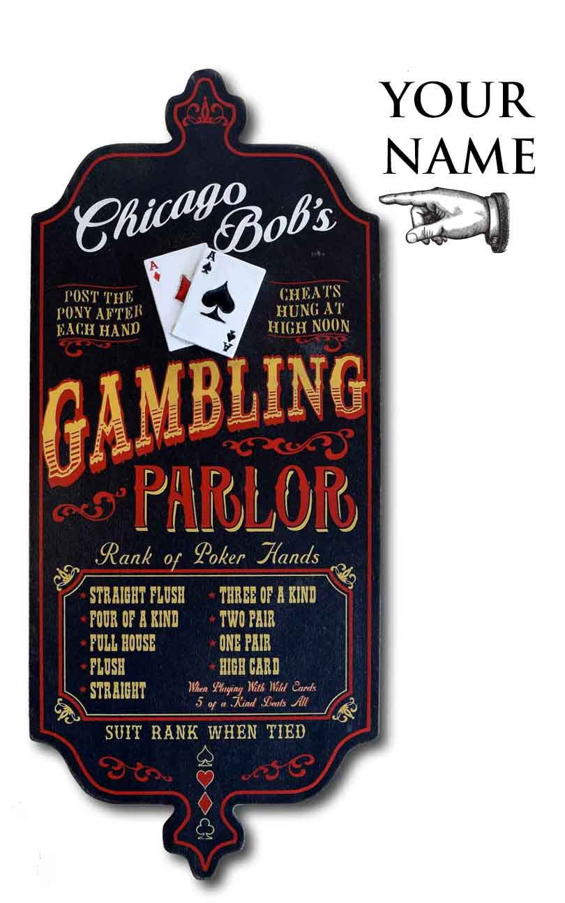 Gambling Parlor Personalized Dubliner Wood Sign