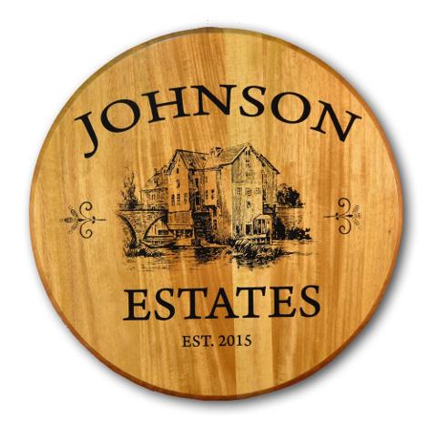 Estate Personalized Oak Barrel Head Sign