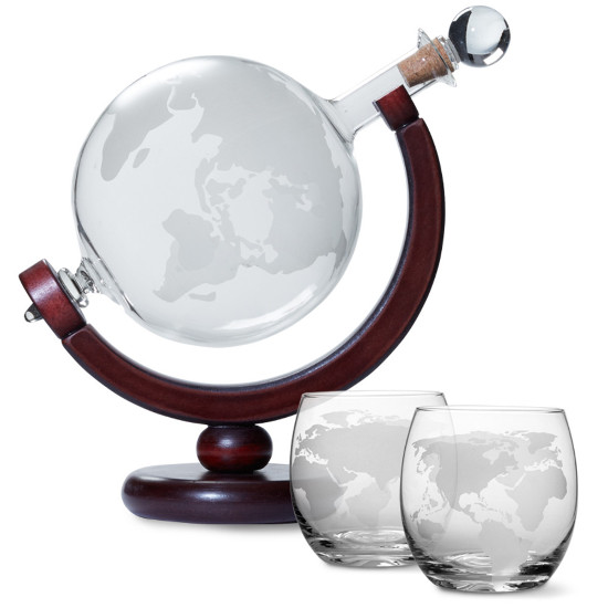 Etched Globe Whiskey Decanter and Glasses Set