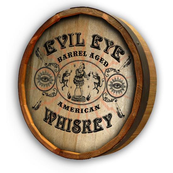 Personalized Evil Eye Whiskey Quarter Barrel Sign