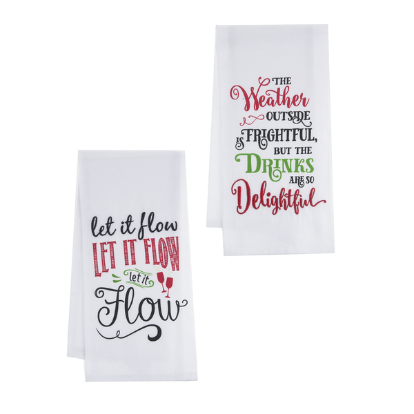 "Festive Holiday ""Let it Flow"" Guest Towels (set of 2)"
