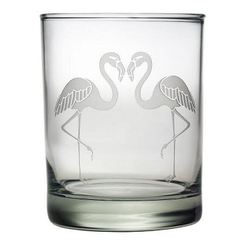 Flamingo Etched Dor Glass Set