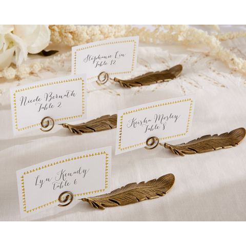 Gilded Feather Place Card Holders (set of 12)