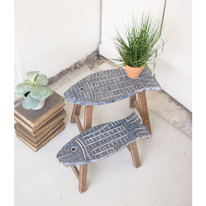 Wooden Fish Stools Set of 2