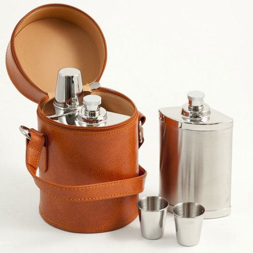 6 Piece Stainless Steel Travel Flask Set in Leather Case