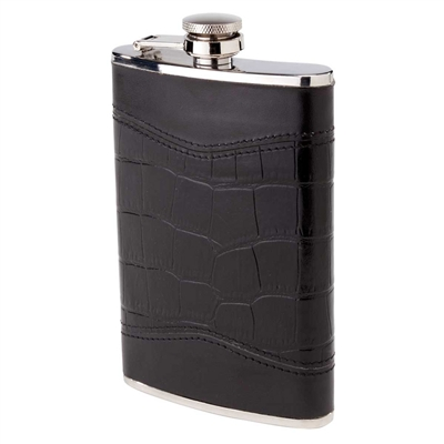 8 oz Black Alligator Hip Flask