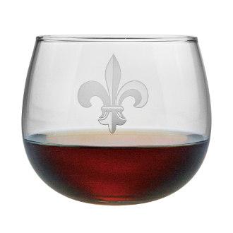 Fleur De Lis Stemless Red Wine Glass Set
