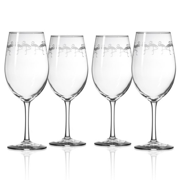 Etched Flamingo All Purpose Large Wine Glasses  (set of 4)