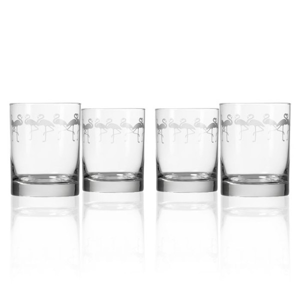 Etched Flock of Flamingos DOF Glasses (set of 4)