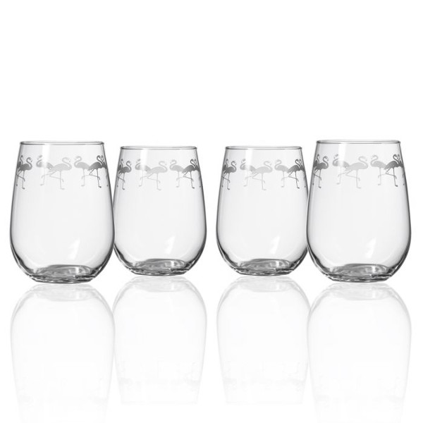 Etched Flock of Flamingos Tumblers (set of 4)