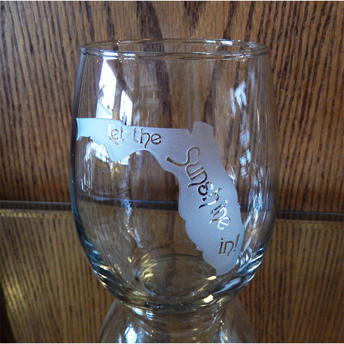 Etched Florida Silhouette Stemless Wine Glasses (set of 4)