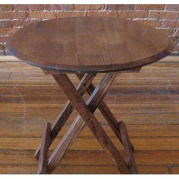 Folding Genuine Oak Barrel Head Side Table
