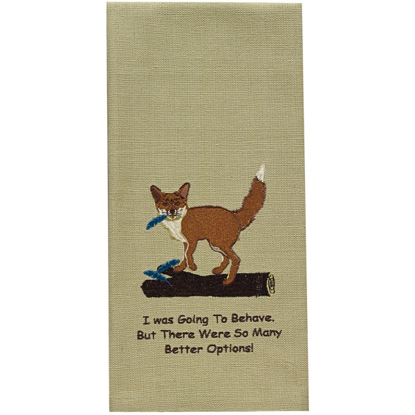 Fox Embroidered Dishtowel