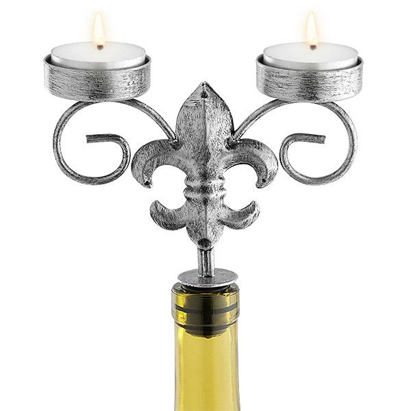 Silver Fleur De Lis Wine Bottle Candelabra