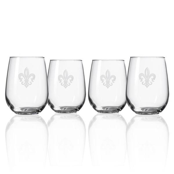 Grand Fleur De Lis Stemless Glasses, Set of 4