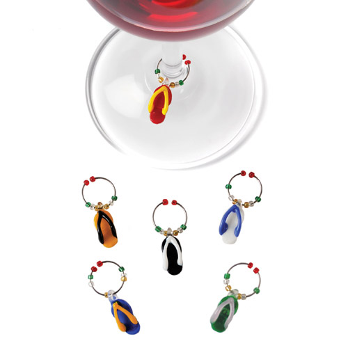 Glass Flip Flop Wine Charms