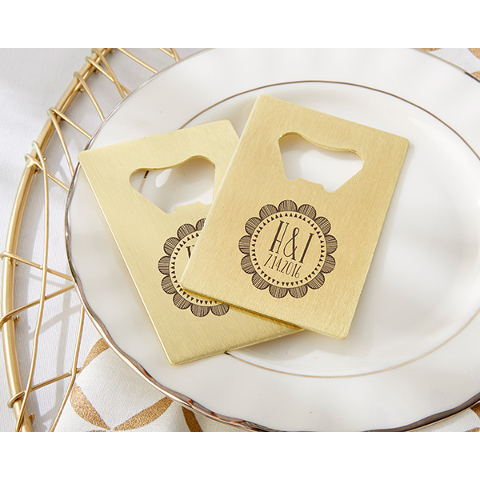 Personalized Medallion Wedding Credit Card Bottle Openers (set of 36)