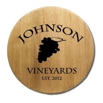 Wine Grapes Barrel Head Sign