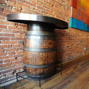 Half Barrel Bistro Table with Metal Top