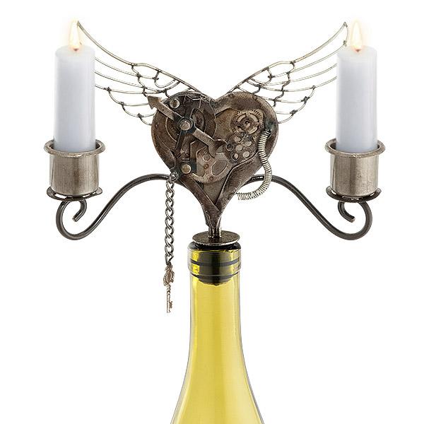 Heart Taper Wine Bottle Candelabra