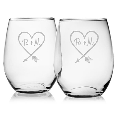 Carved Heart Personalized Stemless Wine Glass (set of 4)