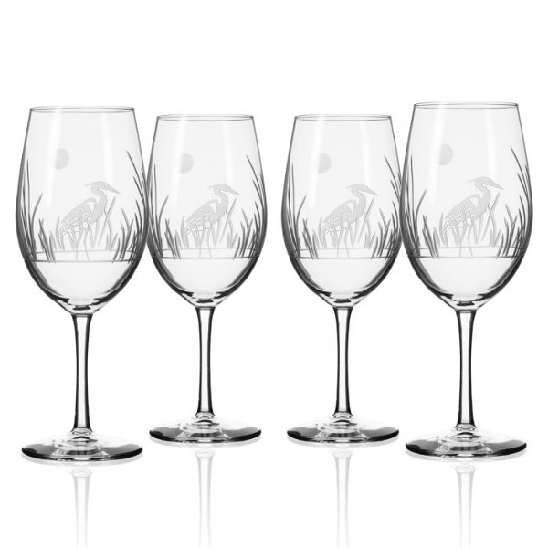 Etched Heron All Purpose Large Wine Glasses (set of 4)