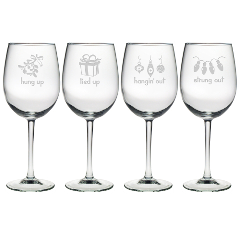 Holiday Hang Ups Stemmed Wine Glasses (set of 4)