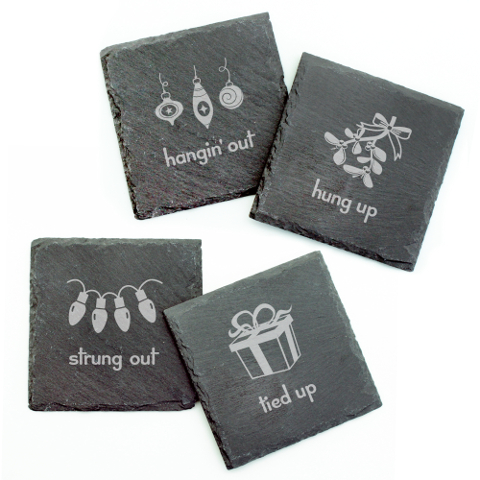 Holiday Hang Ups Slate Coasters (set of 4)