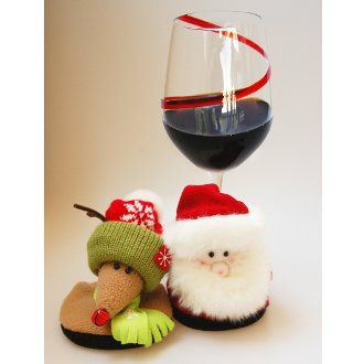 Holiday Plush Santa and Reindeer Stemware Coasters (set of 2)
