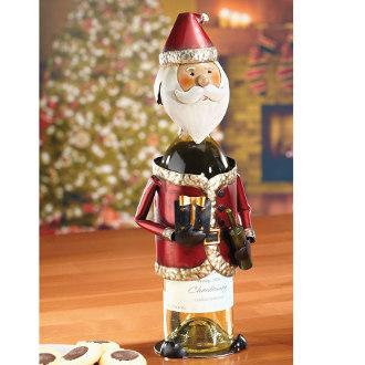Santa Holiday Metal Wine Bottle Holder