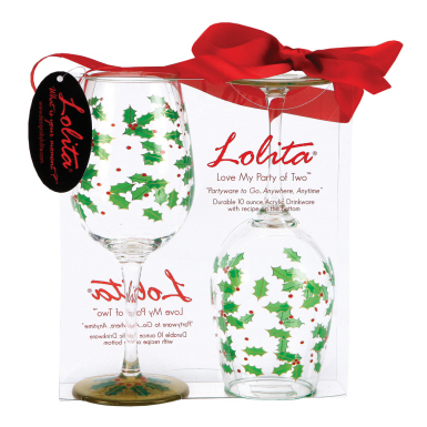 Holly Berry Acrylic Wine Glasses