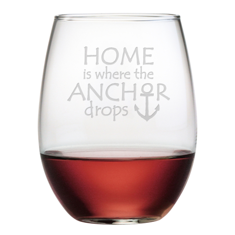 Home Is Where The Anchor Drops Stemless Wine Glasses (set of 4)