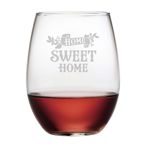 Home Sweet Home Stemless Wine Glasses (set of 4)