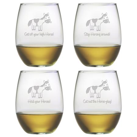 Horseplay Stemless Wine Glasses (set of 4)