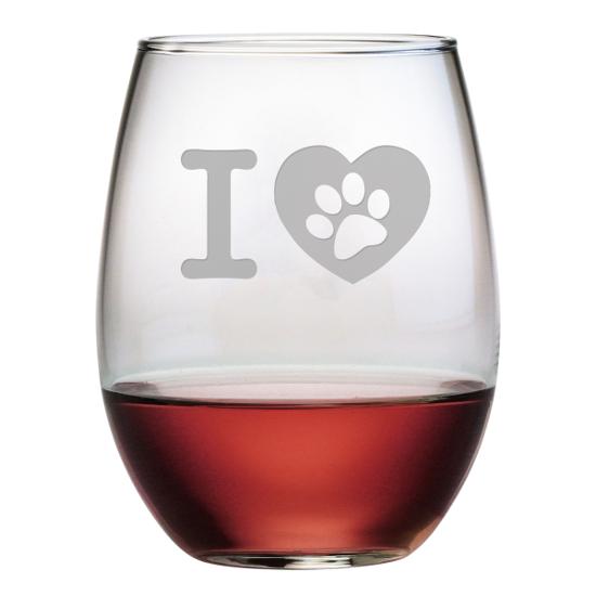 I Heart Paw Stemless Wine Glasses (set of 4)