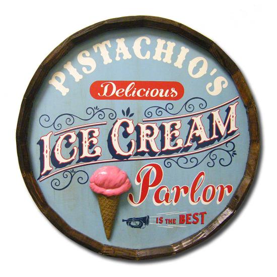 Ice Cream Parlor Personalized Quarter Barrel Sign