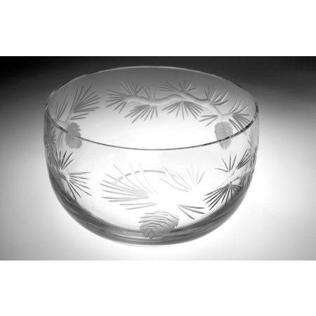 Etched Icy Pine Large Glass Bowl