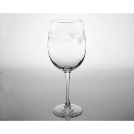 Etched Icy Pine Large AP Wine Glasses (set of 4)