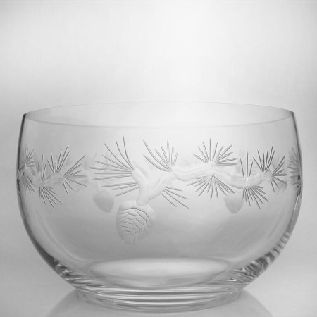 Etched Icy Pine Small Glass Bowl (set of 4)