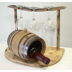 Wine Barrel Wine Holder & Glassware Rack