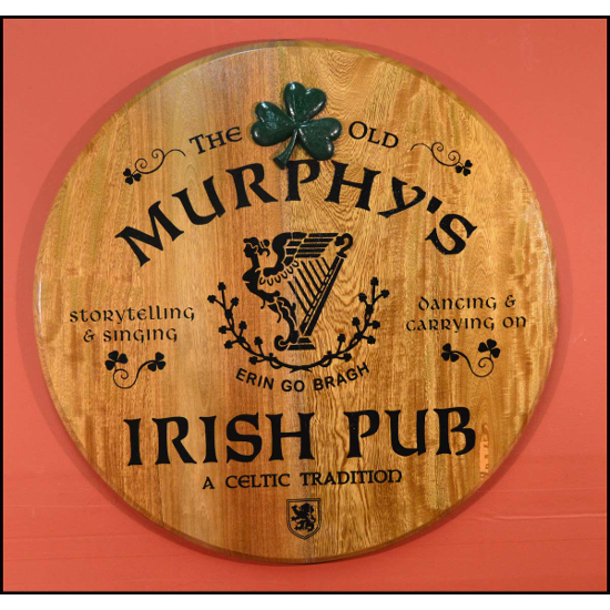 Irish Pub Personalized Oak Barrel Head Sign