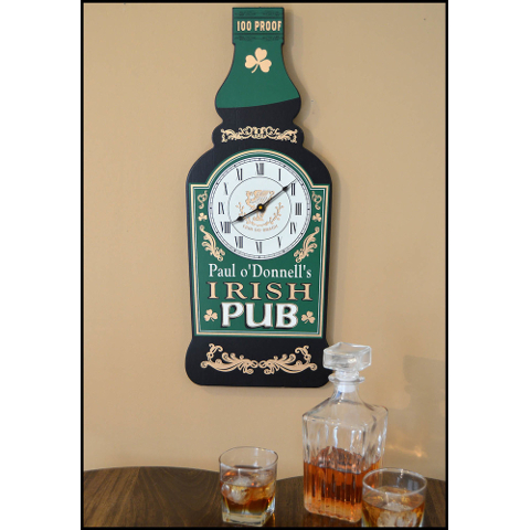 Irish Whiskey Bottle Personalized Wall Clock