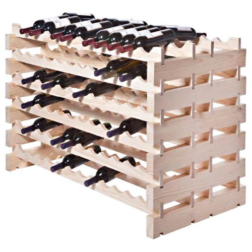 Two Sided 144 Bottle Modular Wine Display Rack - Natural